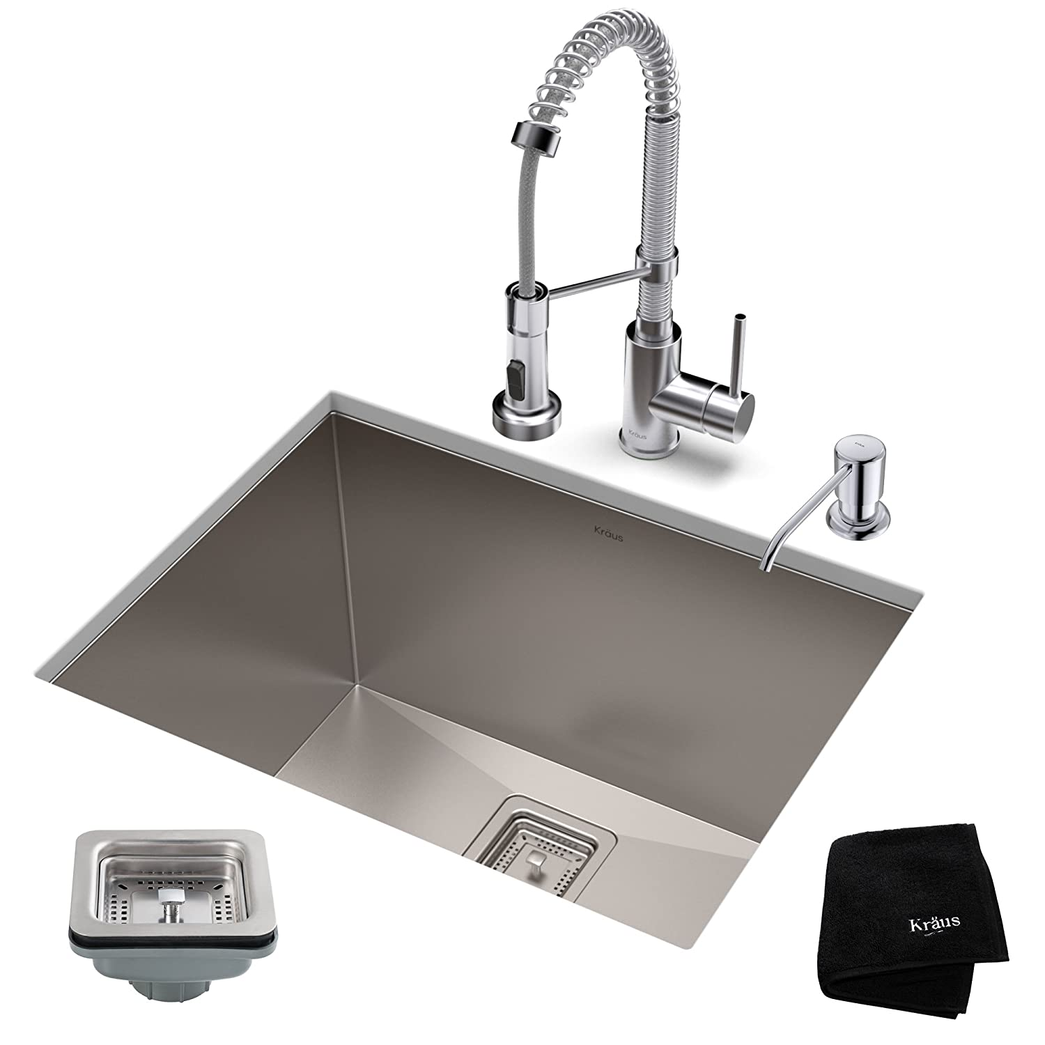 KRAUS KHU24L-1610-53CH Set with Pax Stainless Steel Laundry Utility Sink and Bolden Commercial Pull Faucet in Chrome Kitchen Sink & Faucet Combo