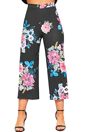 b17c01fd986 WearAll Women s Floral Print Crepe Palazzo Culottes Trousers Wide Flared  Leg Pants - Black - US 2 (UK 6) at Amazon Women s Clothing store