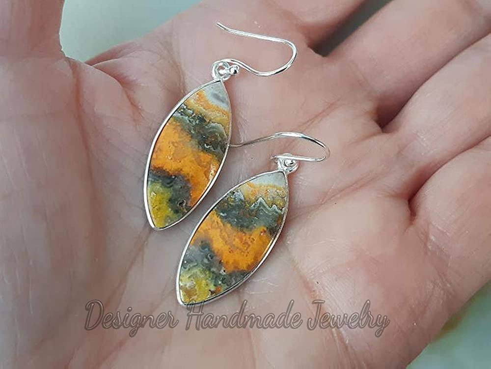 100/% Natural Bumble Bee Jasper Cabochon Handmade With Beautiful Design 49 Ct Size 51X25X5 Marquise Shape Gemstone