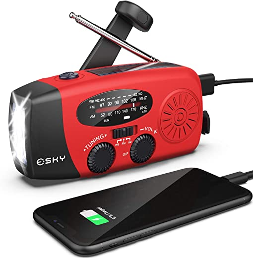 Hand Crank Radio with Flashlight for Emergency, Esky Portable Solar Radios, Self Powered AM/FM NOAA Weather Radio with 1000mAh Power Bank Cell Phone Charger, USB Rechargeable, Great Emergency Supplies