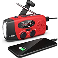 Hand Crank Radio with Flashlight for Emergency, Esky Portable Solar Radios, Self Powered AM/FM NOAA Weather Radio with…