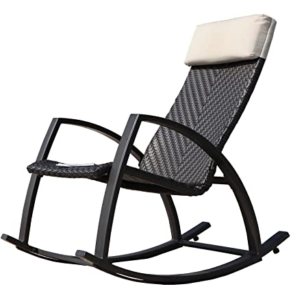 Grand Patio Weather Resistant Wicker Rocking Chair With Breathable Headrest  And Wood Grain Painted Armrests,