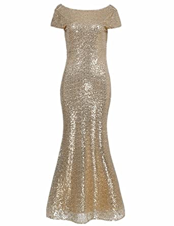 iiniim Women Sparkling Gradual Champagne Gold Sequin Mermaid Cap Sleeves Evening Dress Prom Dress Gold Small