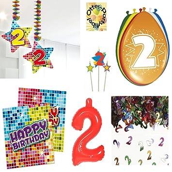 2 Geburtstag 2 Jahre Dekoset Servietten Konfetti Hanger Luftballons