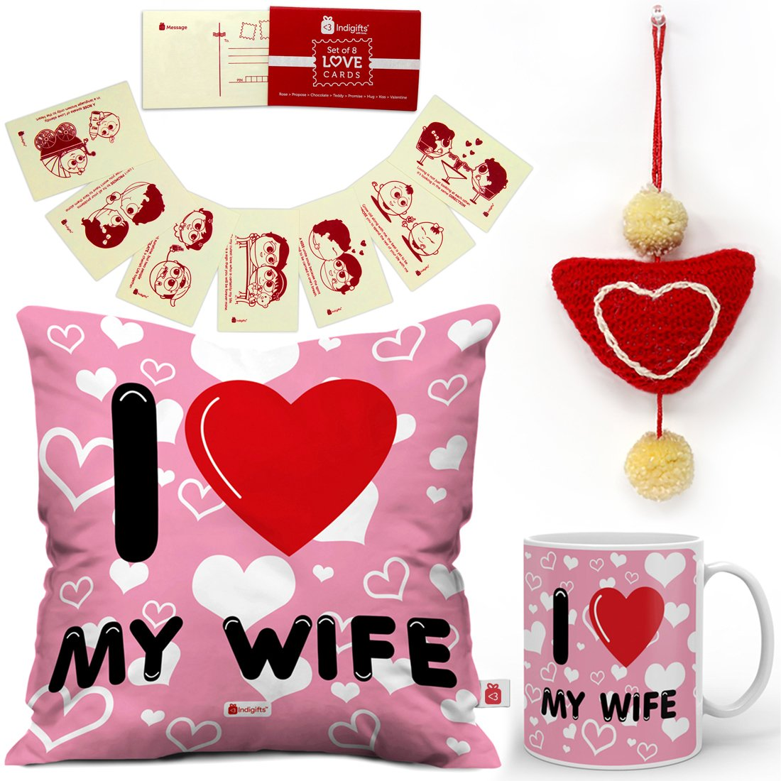 Indi ts Valentine Day Gifts I Love My WIFE Quote Seamless Heart Pattern Pink Cushion Cover 12×12 with Filler Mug 330 ml 8 Love Postcards and 1