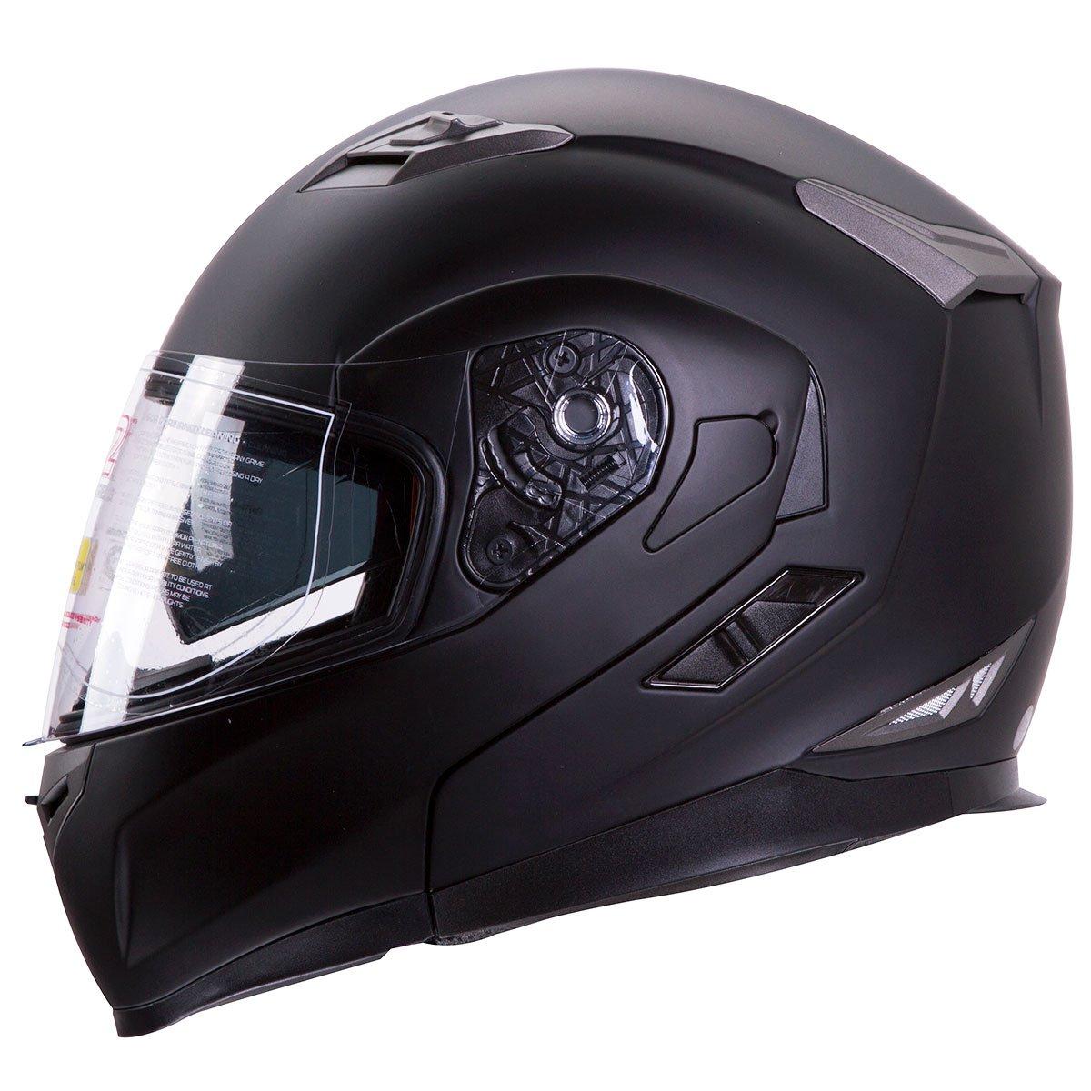 Motorcycle/Snowmobile Matte Black Dual Visor Modular Helmet DOT (Size: Medium)