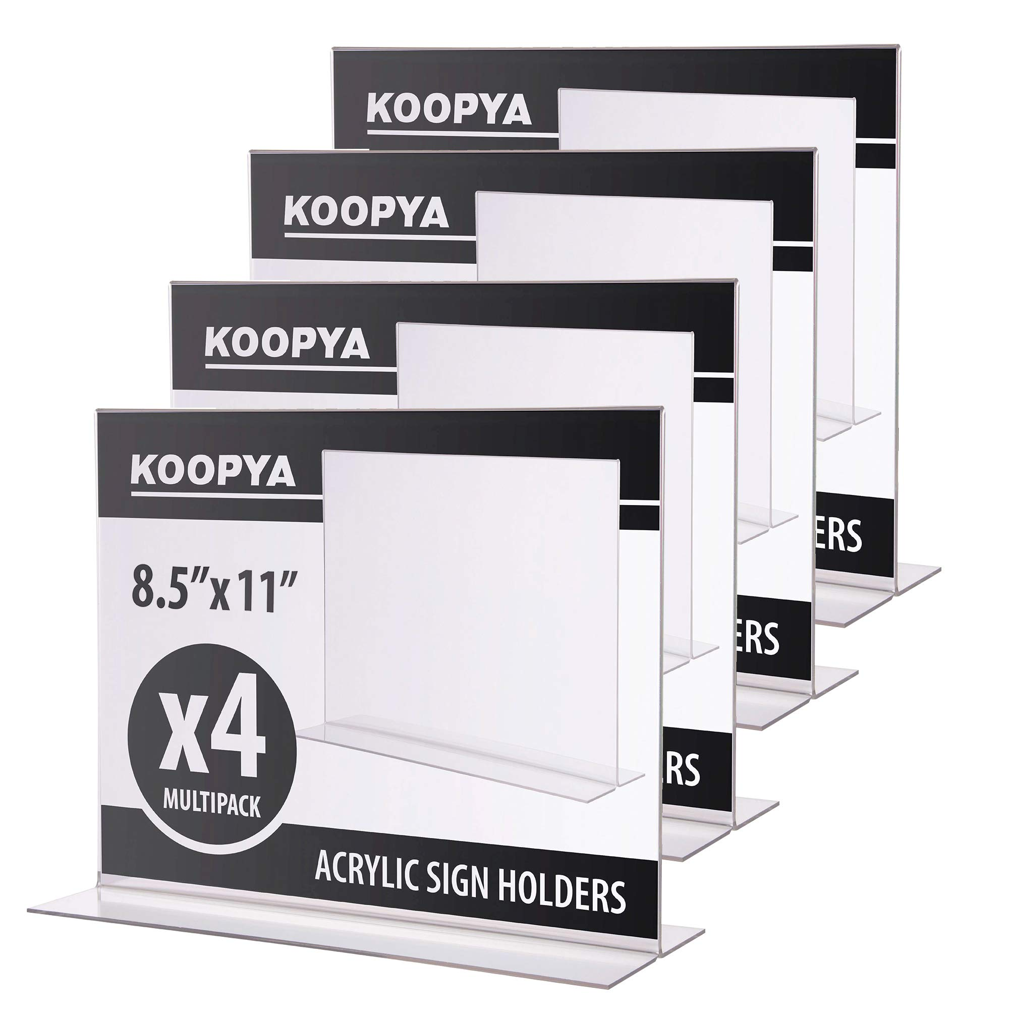 Acrylic Sign Holder 8.5'' x 11'' - Thick Durable Quality for Horizontal Ad Display, Menu, Photo, Pack of 4 by Koopya