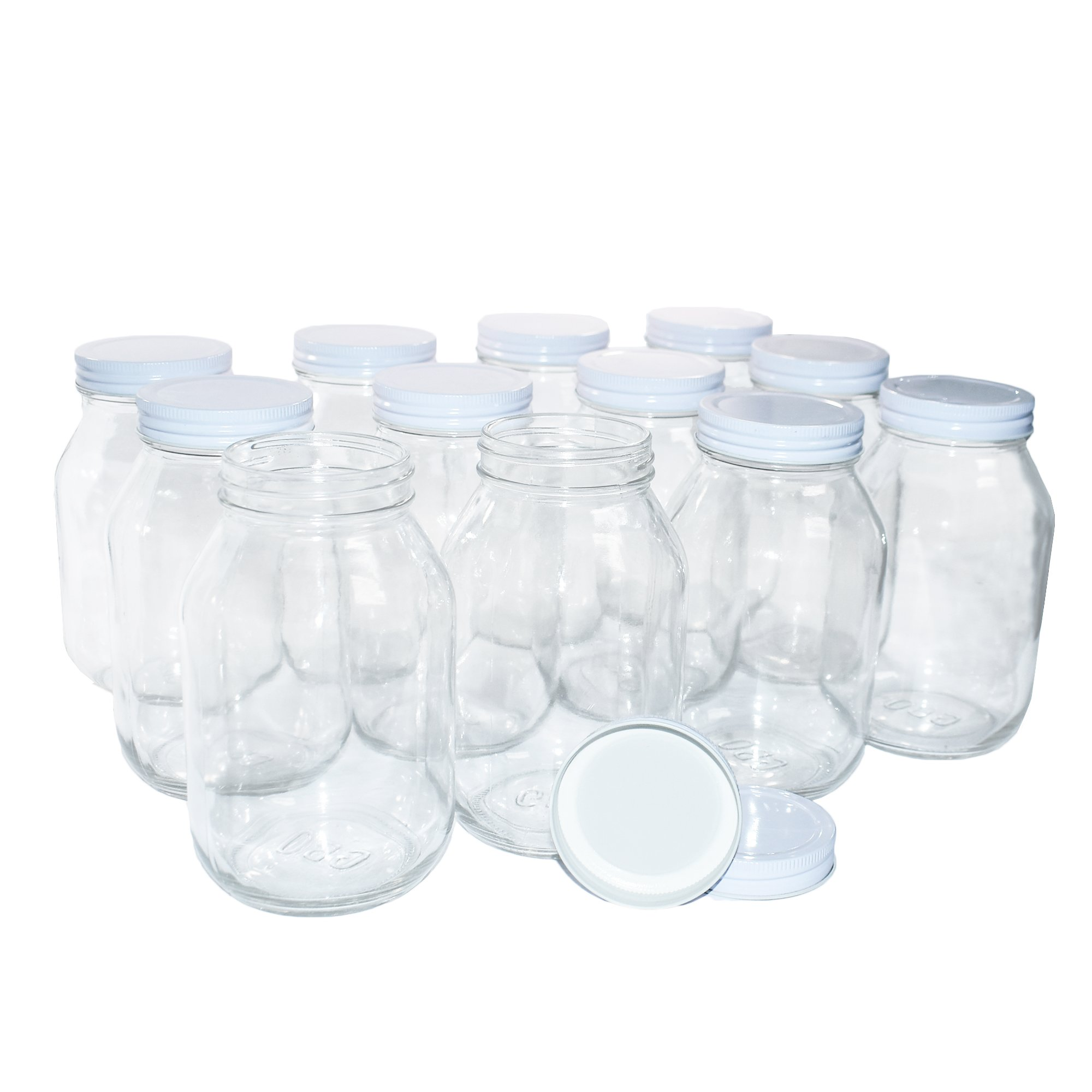 12 Pack Clear Glass Old-Fashioned Jars With Metal Lid (with seal) 32oz