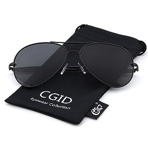 CGID CM801 Premium Full Mirrored Aviator Sunglasses w/ Flash Mirror Lens Uv400,Matte Black Gray