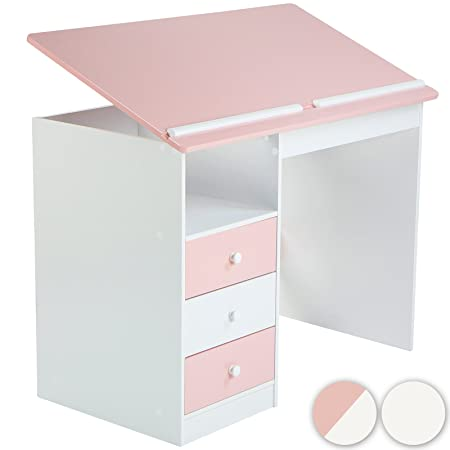 Mesa de Escritorio Infantil Blanca/Rosa con Tablero inclinable ...
