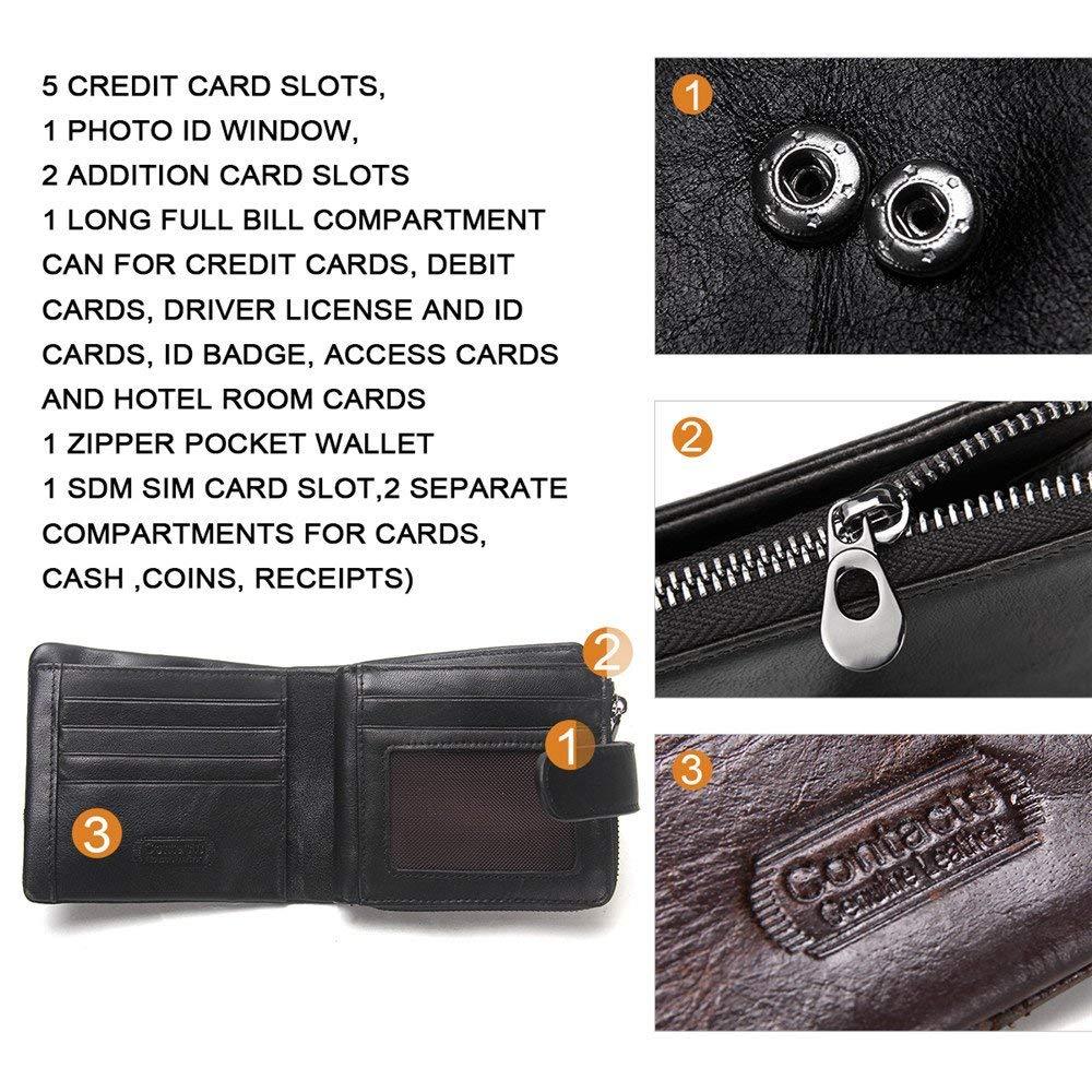Vintage Genuine Leather Mens Card Holder Zipper Coin Pocket Purse Wallet