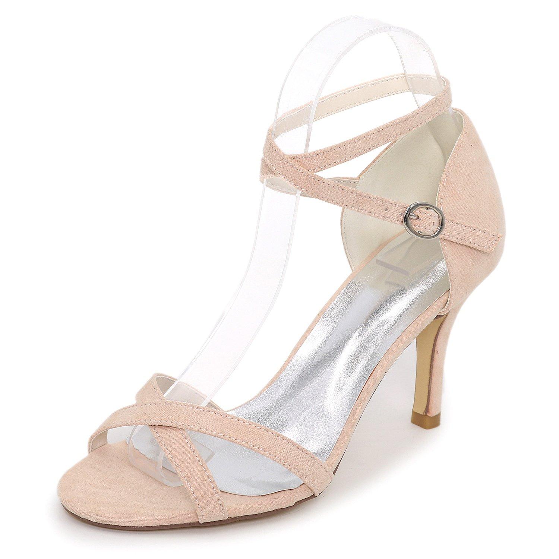 Elobaby Zapatos De Boda De Mujer Cabezada De Dama De Honor De SatéN Hebilla Peep Toe Rhinestones Evening Low Handmade/8.5cm Heel 42 EU|Apricot