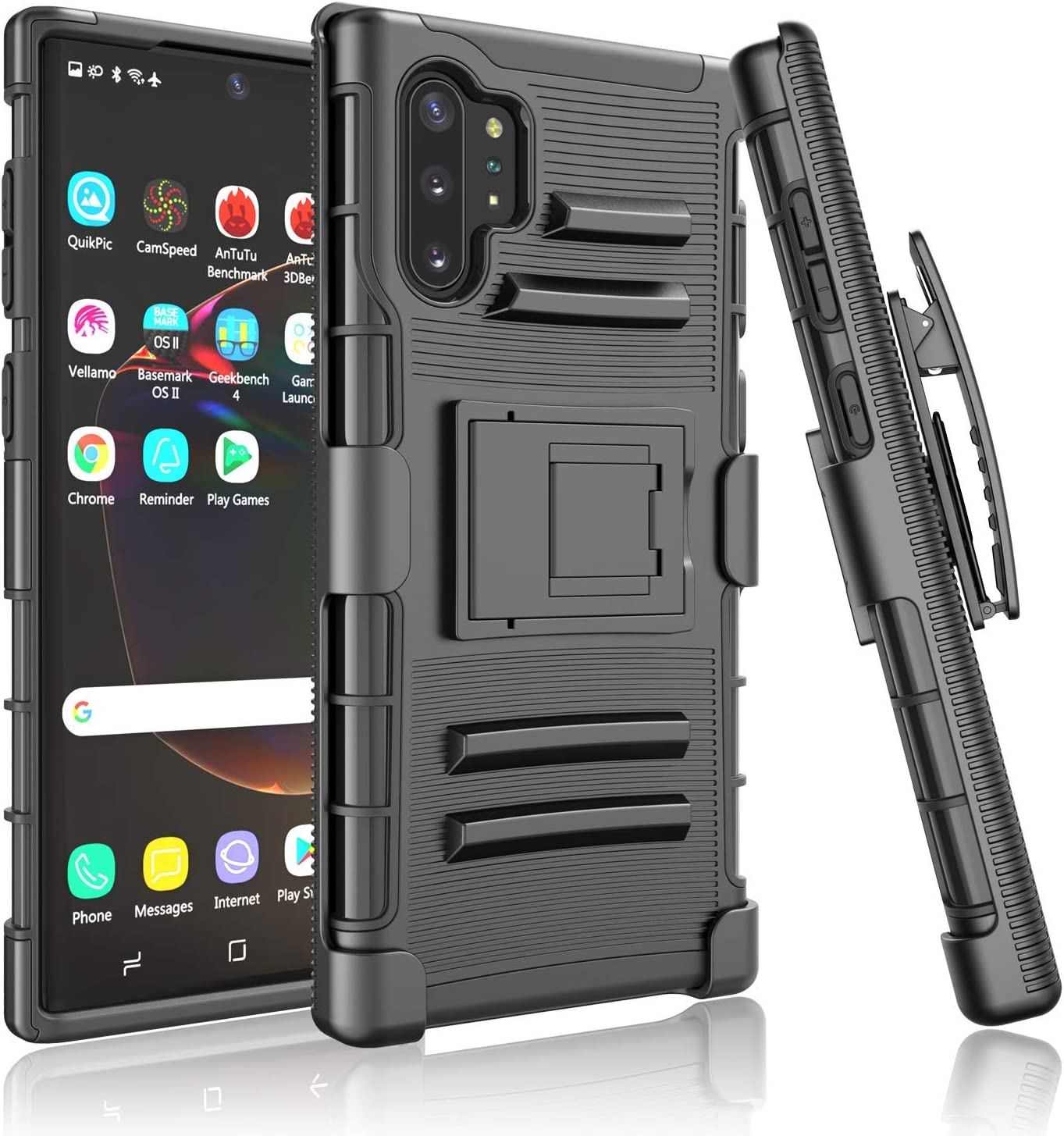 Takfox Galaxy Note 10 Plus Case/Galaxy Note 10 Plus 5G Case Protective Shockproof Belt Clip Holster Kickstand Rugged Hard Shell Rubber Protection Cover for Samsung Galaxy Note 10 Plus 6.8 inch-Black