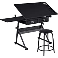 SDHYL Adjustable Drawing Desk Craft Station Drafting Table with Stool for Painting Three Side Drawers Writing and Studying S7-CZKLD-029-CA