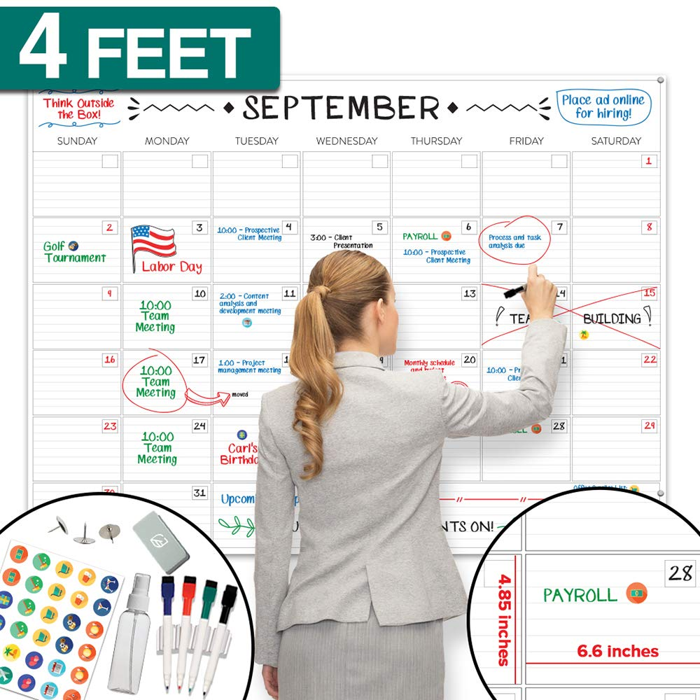 "X Large Dry Erase Wall Calendar - 36""x48"" Premium Giant Oversized Undated Erasable Deadline Task Calendar for 2019 2020 - Jumbo Monthly Task Organizer Planner for Home, Business & Dorm Room"