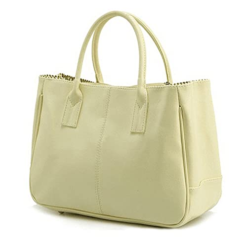 Sugawin Women s Pure Color Fashion Beige PU Leather Handbag Shoulder Bags  Purse Bag 1fe9eb7871f98
