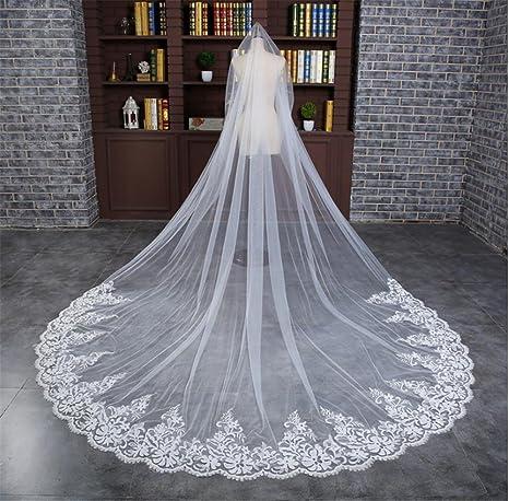 6ffd74931f LUCKY-U Velo de novia 3M Leche blanca Hecho a mano Flor de encaje Nupcial