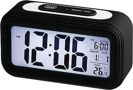 Unica Grande Display LCD Trevi SLD 3068 S Orologio Termometro Digitale con Sveglia Sensore per Illuminazione Automatica Funzione Snooze Nero Calendario