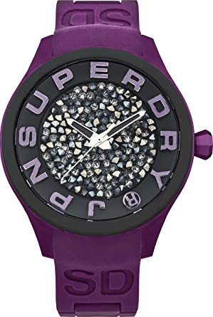 Superdry SYL152V Ladies Scuba Rocks Stone Set Purple Silicone Bracelet Watch
