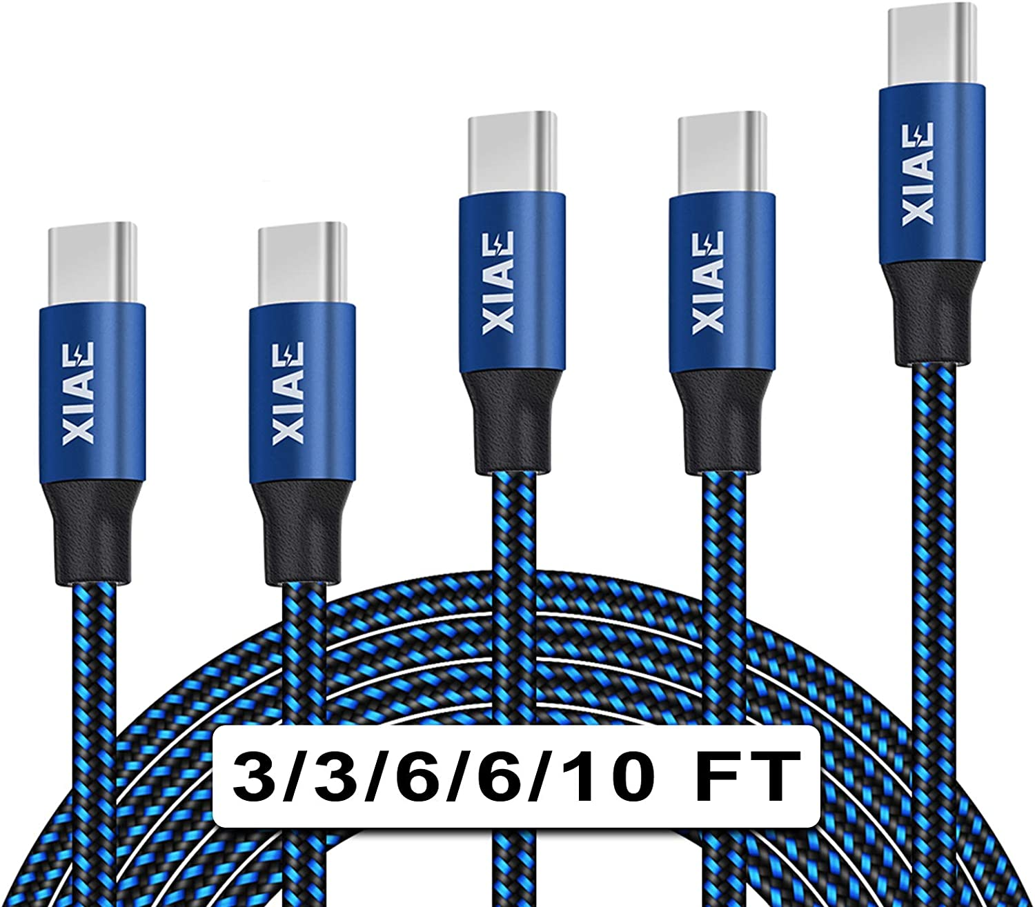Huawei P10 /& P10 Plus//Xiaomi Mi 6 /& Max 2 and for Galaxy S8 /& S8 // LG G6 lekai Compact and Lightweight Cable 1m 2A Output USB to USB-C//Type-C Nylon Weave Style Data Sync Charging Cable