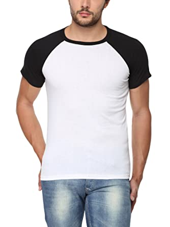8648bad5d58b GOODTRY Men's Raglan Half Sleeve Cotton T-Shirt White and Black: Amazon.in:  Clothing & Accessories