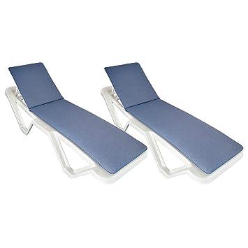 Cubiertas Acolchadas para tumbonas 2 Unidades - Azules - Se Ajusta a la mayoría de tumbones Incl. Resol Master y Marina