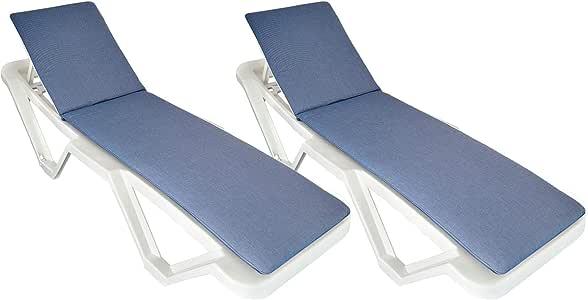 Harbour Housewares Cojín para Tumbona - Compatible con la mayoría de tumbonas, también Resol Master y Marina - Azul - Pack de 2: Amazon.es: Hogar