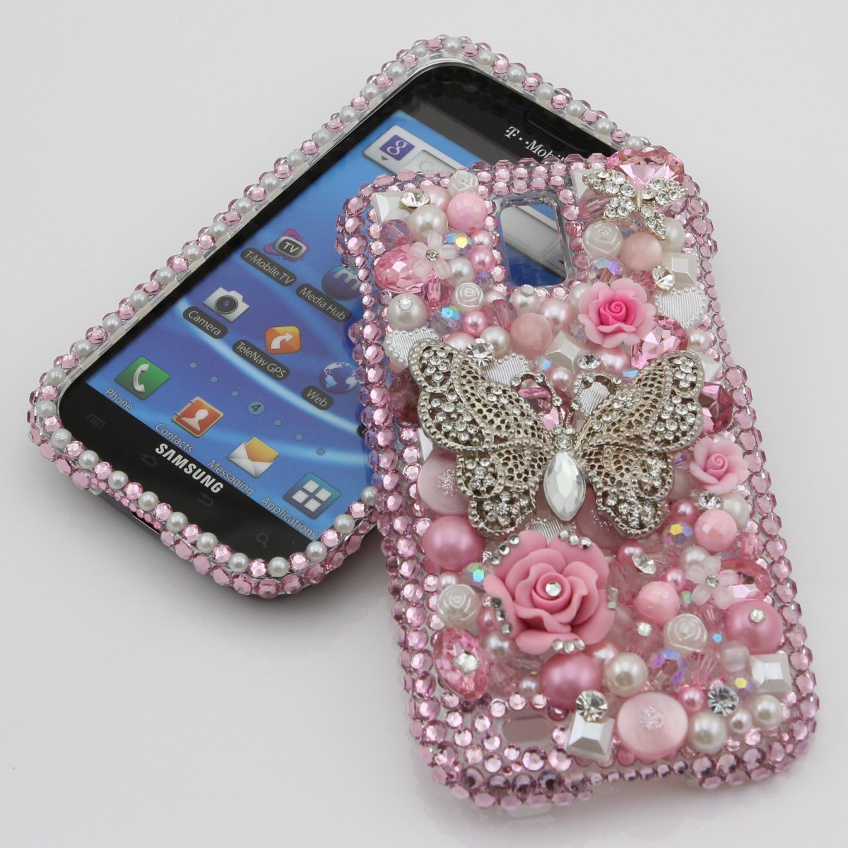 3D Swarovski Crystal Diamond Bling Silver Butterfly Design Case Cover for Samsung Galaxy S2 S 2 II T-Mobile SGH-T989 - Pink