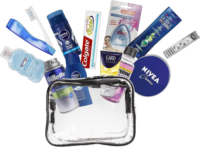 Set de viaje de 13 piezas para hombre productos de marca para el cuidado personal, esenciales de viaje. Cabina aprobada