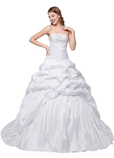 Cloverdresses Straight Neck White Taffeta Bridal Wedding Dresses Ball Gowns  at Women s Clothing   6add294c4b90