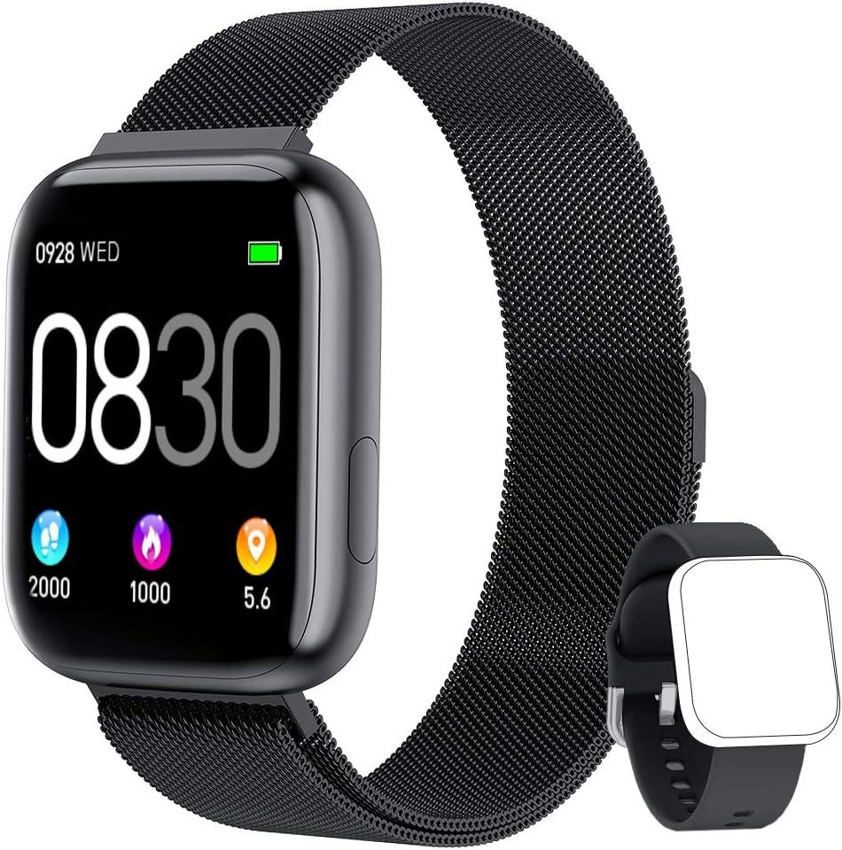BANLVS Smartwatch, 1.4 Inch Reloj Inteligente IP67 con Pulsómetro Presión Arterial, Monitor de Sueño Podómetro Contador de Caloría, Smartwatch Mujer Reloj Inteligente Deporte para Hombre Mujer