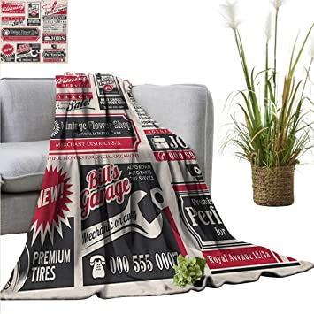 Amazon.com: AndyTours Throw Blanket,Retro,Retro Newspaper ...
