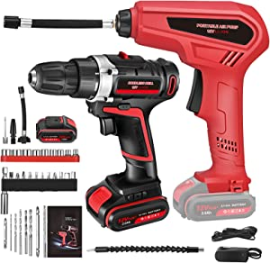 Cordless Drill Set and Tire Inflator Air Compressor Combo Kit for Home Projects, Variable Speed Impact Drill Set with Portable Air Compressor Pump, 2Ah Battery & 33 Pcs Accessories