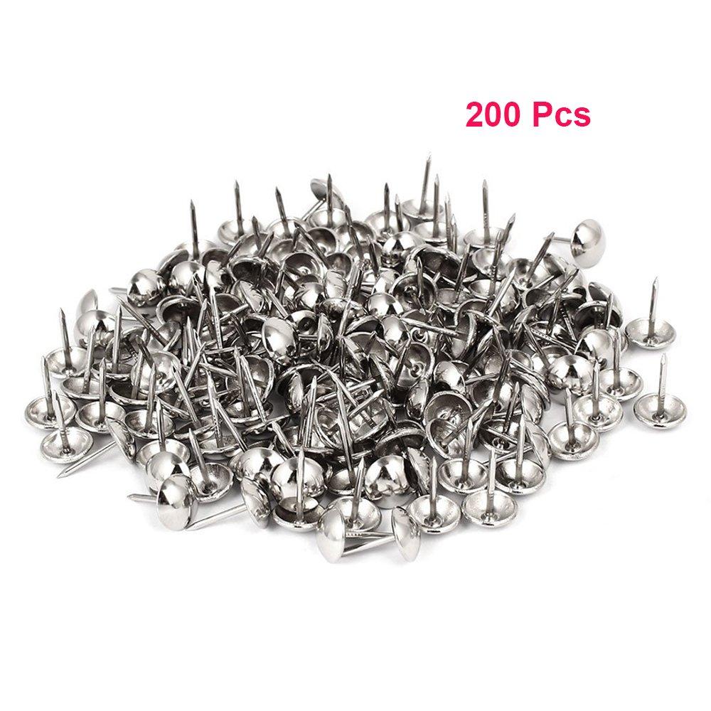 Sydien 200 Pcs Silver Finish Upholstery Nails, Furniture Tacks, Thumb Tacks, Push Pin, Decorative Nails for Furniture (16mmx11mm)