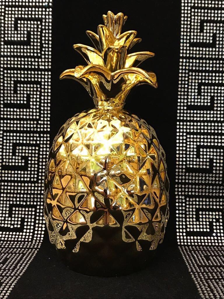 Medusa Deko Ananas strass Figure decorazione ceramica Deko Ananas frutta decorativa Oro Figure molto elegante Deko-König
