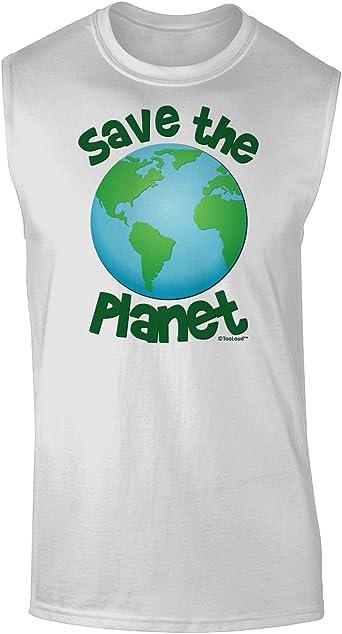 TooLoud Go Green Planet Earth Muscle Shirt