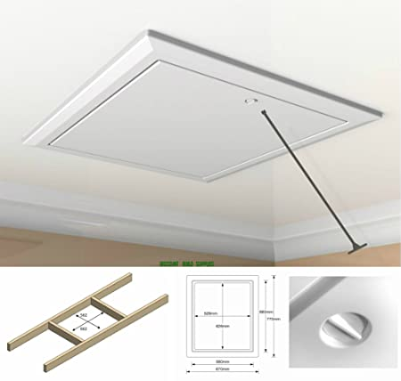 White Loft Trap Door With Opening Pole / Hinged Drop Down Insulated Hatch  Access Door Attic