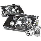 VW Jetta / Bora A4 Typ 1J Pair of OE Style Black Housing Headlight + H4 LED Conversion Kit W/ Fan
