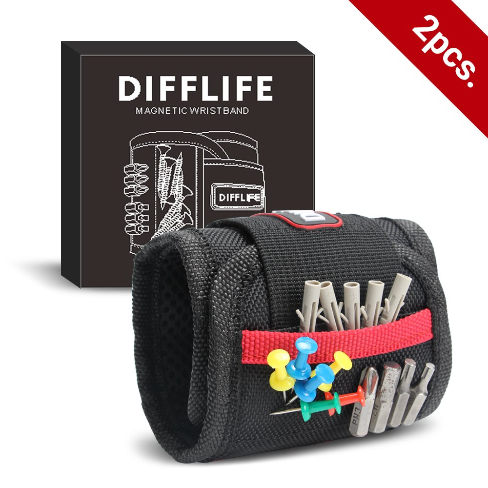 DIFFLIFE Magnetic Wristband, with 10 Strong Magnets for Holding Screws, Nails, Drilling Bits, Adjustable Wristband Tools with 2 Storage Pockets for Non-magnetic Perfect Gift for Men (Set of 2)
