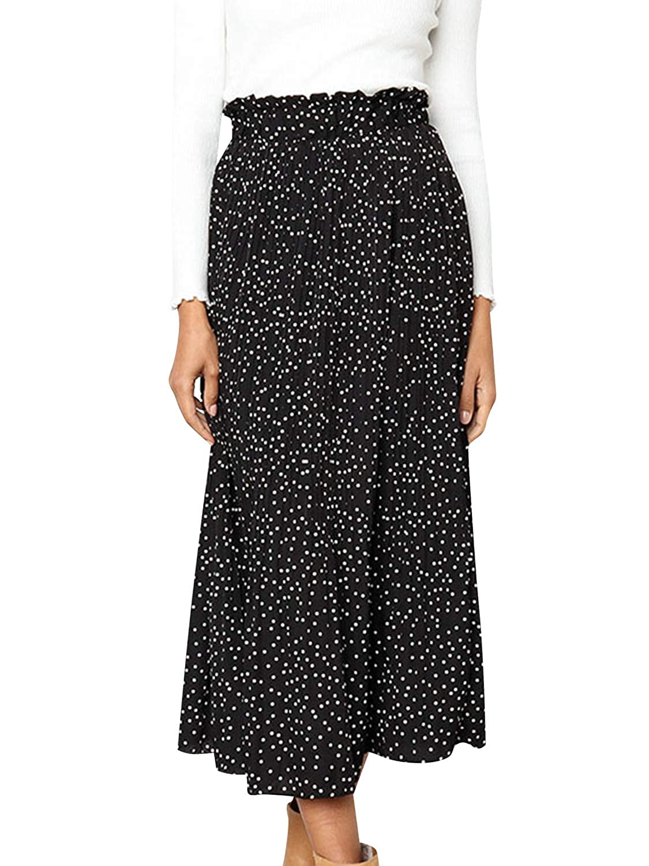 a265f3a4f692 Fashiomo Women's High Waist Chiffon Floral Ruffle Pleated Midi Skirt at  Amazon Women's Clothing store: