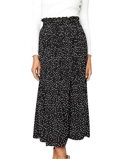 d2321e6786 BerryGo Women's Boho High Waist Polka Dot Floral Print Midi Skirt at ...