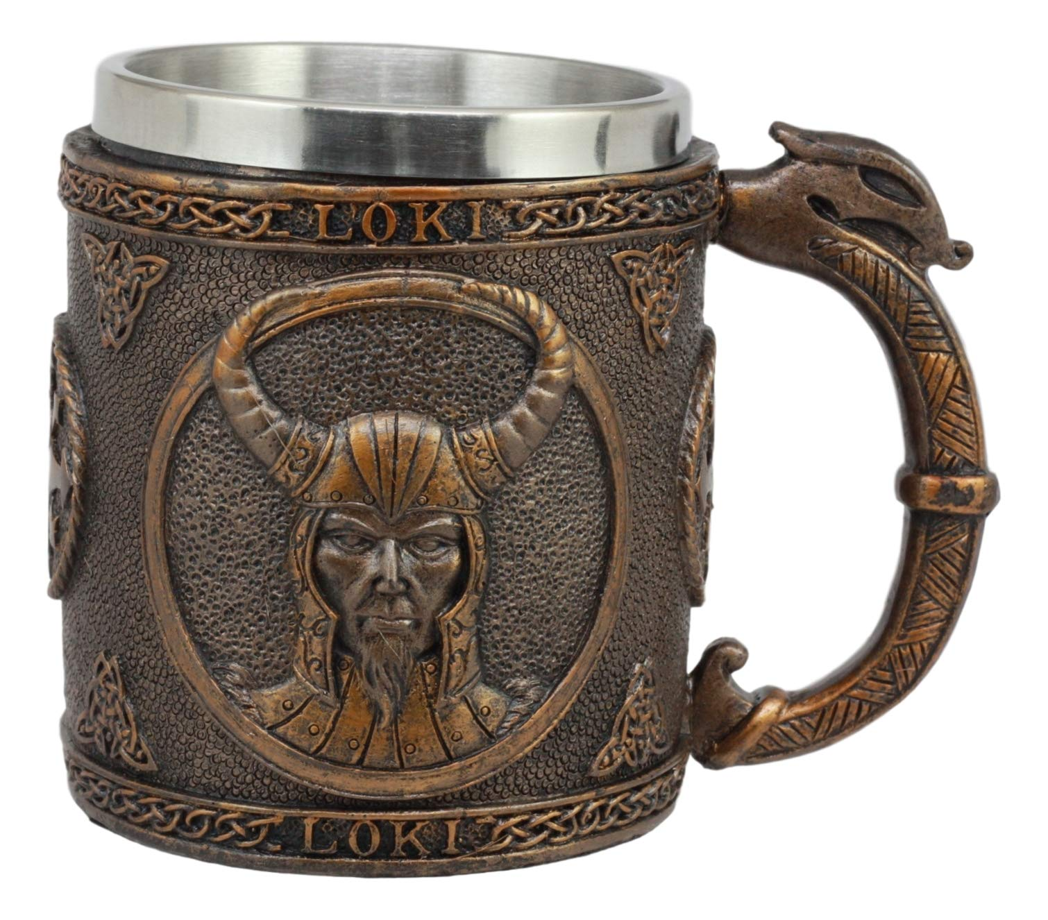 Ebros Gift Norse Mythology Viking Trickster God Loki Coffee Mug 13oz Resin Drink Cup Tankard Beer Stein With Stainless…
