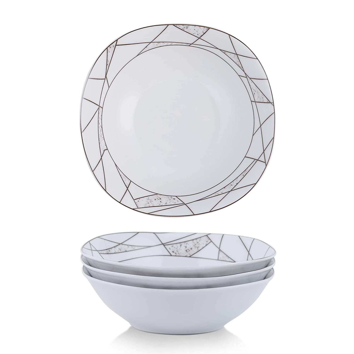 VEWEET 18-Piece Porcelain Dinner Set Ivory White Irregular Patterns Plate Sets with Dinner Plate, Soup Plate, Dessert Plate, Service for 6 ((SERENA Series)
