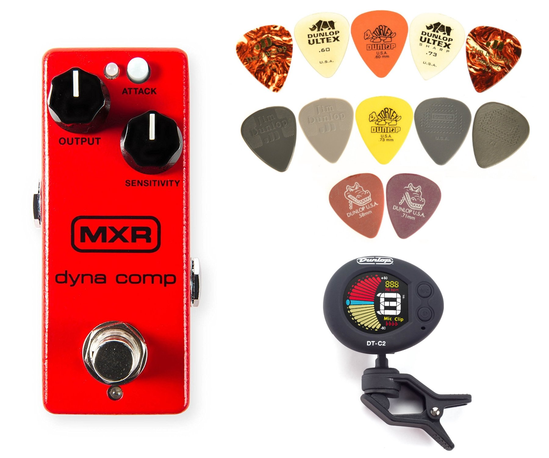 MXR M291 Dyna Comp Mini Compressor Pedal BUNDLE w/ Dunlop DTC-2 Chromatic Clip-On Tuner and PVP101 Pick Pack