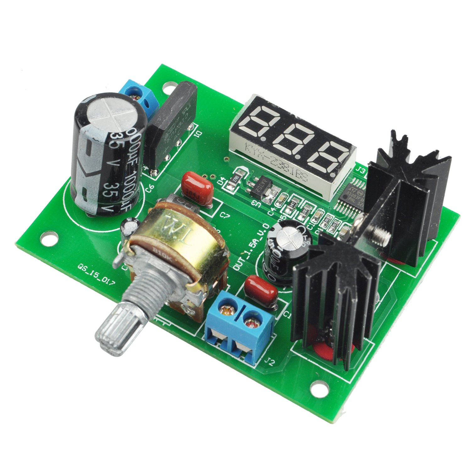 SODIAL(R) New LM317 Adjustable Voltage Regulator Step-down Power Supply Module with LED Meter 049892