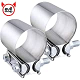 EVIL ENERGY 2.5 Inch 2 1/2 Butt Joint Exhaust Band Clamp Sleeve Stainless Steel 2pcs