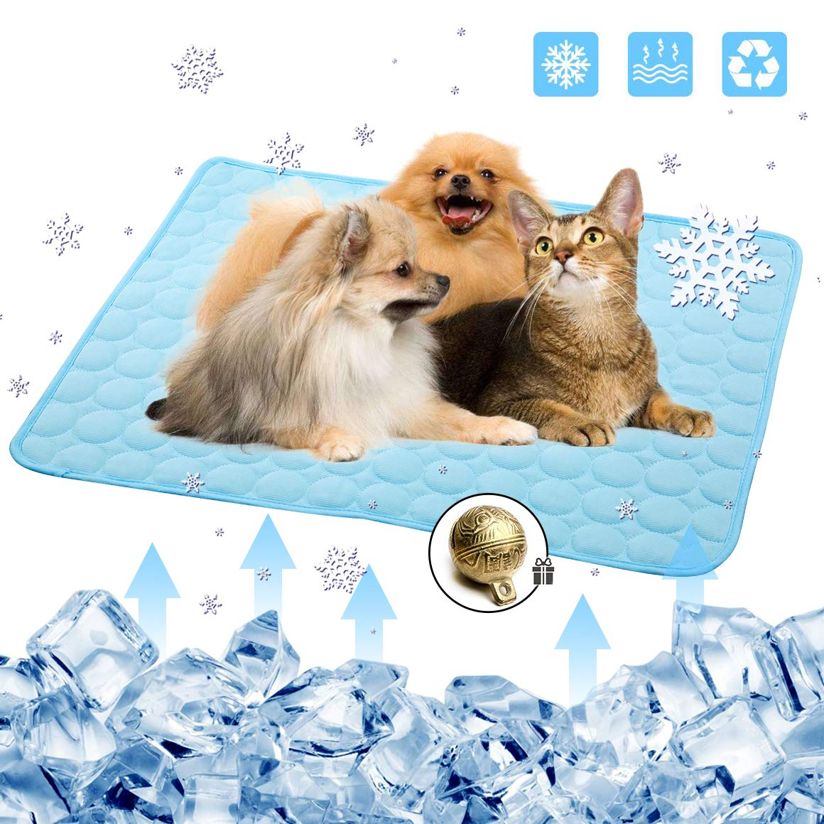 Pet Cooling Mat For Cats Dog Crate Mat Cat Cooling Mat Dog Ice Mat Cooling Pad For Cats Pet Cooling Seat Cushion Dog Car Seat Blanket With Bell