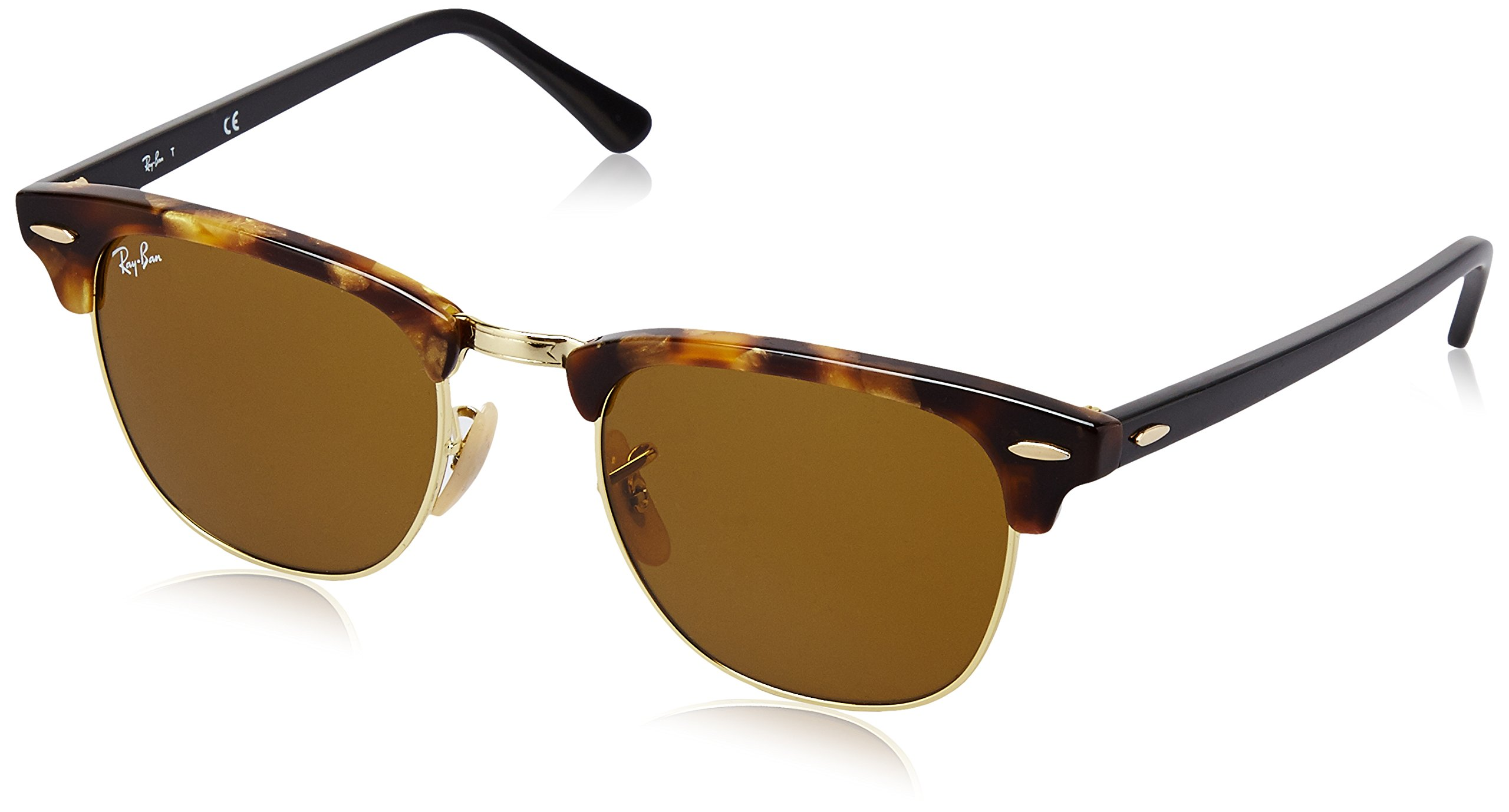 RAY-BAN RB3016 Clubmaster Square Sunglasses, Spotted Brown Havana/Brown, 49 mm by RAY-BAN