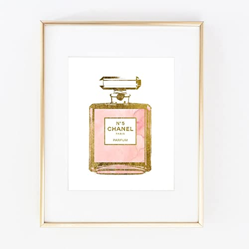 Real Gold Foil COCO Perfume Bottle Watercolor Hand Painted Wall Art Print Color Girl Room Modern