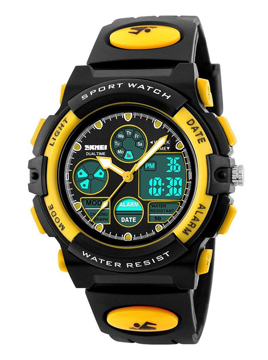 Gosasa Waterproof Swimming Sports Watch Boys Girls Led Digital Watches for Kids, Rubber strap (Yellow)